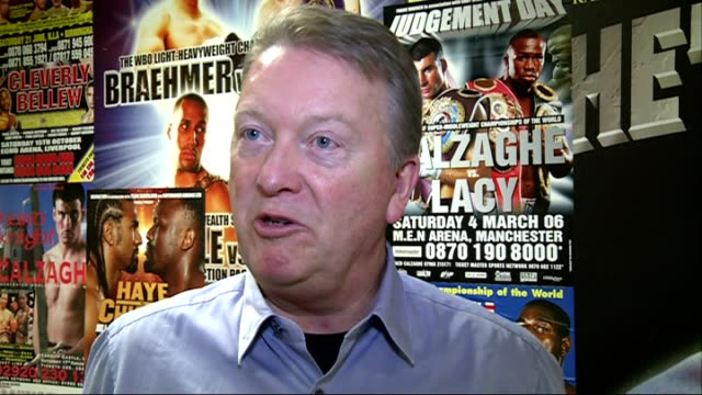 david haye may be forced into retirement after shoulder surgery london int frank warren interview sot - david haye stock videos and b-roll footage