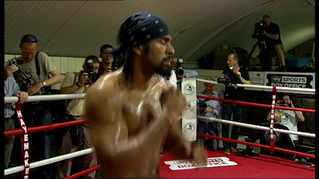 david haye may be forced into retirement after shoulder surgery r14061109 / tx david haye shadow boxing in ring fr press photographers - david haye stock videos and b-roll footage