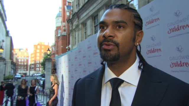 vídeos y material grabado en eventos de stock de interview david haye on supporting the charity his summer get fit tips at the caudwell children butterfly ball at the grosvenor house hotel on june... - hotel grosvenor house londres