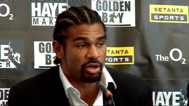 david haye press conference at the 02 arena david haye press conference sot on his opponent in the fight on 15 november 2008 kevin johnson and how he... - david haye stock videos and b-roll footage