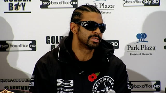 david haye v audley harrison wba heavyweight title fight: pre-fight press conference; david haye press conference sot - it's a new challenge for me... - no doubt stock-videos und b-roll-filmmaterial