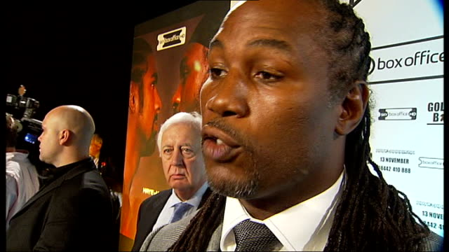 david haye v audley harrison world heavyweight title fight weighin and interviews lennox lewis interview sot going to be good fight both guys in good... - world title stock videos and b-roll footage