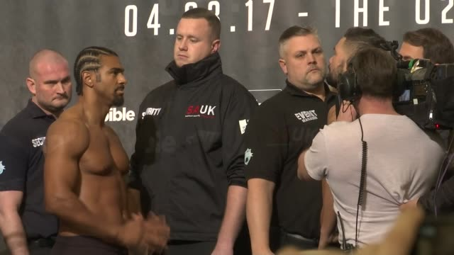 weighin england london int david haye on stage haye and tony bellew posing at weighin - david haye stock videos and b-roll footage