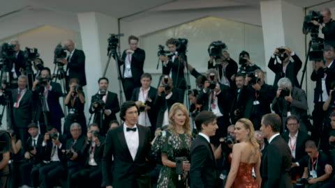 david heyman, scarlett johansson, director noah baumbach, laura dern, adam driver at marriage story - red carpet arrivals - 76th venice film festival... - laura dern stock videos & royalty-free footage