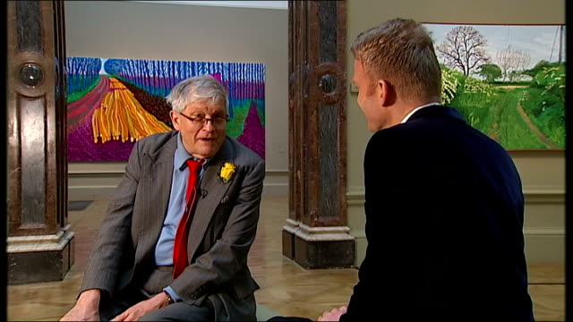 david hockney exhibition opens at the royal academy in london photocall and interview david hockney interview sot chat about doorknobs as wait for... - bridlington stock-videos und b-roll-filmmaterial
