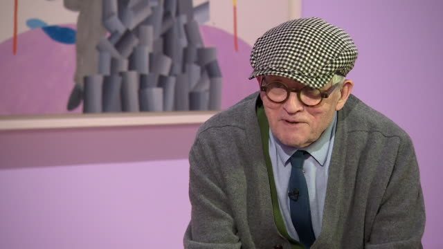 david hockney saying 'i have done a few memorable picturesbut what makes them memorable no one can really say' - candid stock videos & royalty-free footage
