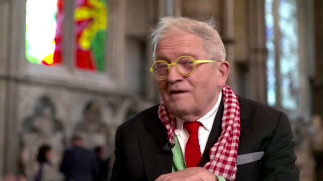 david hockney stained glass window unveiled in westminster abbey; uk, london, wesminster abbey; stained glass windows / david hockney interview.... - television show stock videos & royalty-free footage