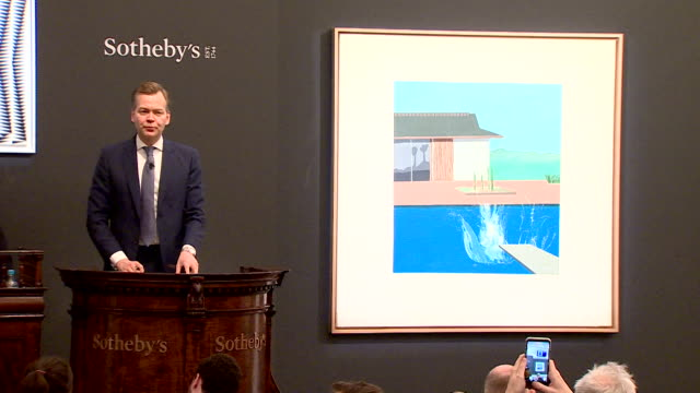 david hockney's famous painting the splash being sold at sotheby's in london for 23 million pounds - versteigerung stock-videos und b-roll-filmmaterial