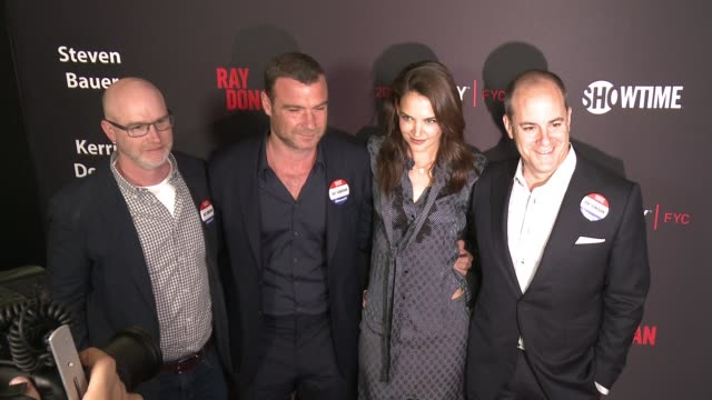 """david hollander, liev schreiber, katie holmes and david nevins at for your consideration screening and panel for showtime's """"ray donovan"""" - red... - showtime video stock e b–roll"""