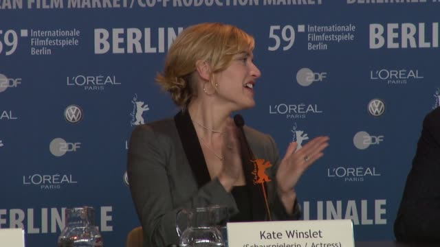 david kross, kate winslet, ralph fiennes, stephen daldry at the 59th berlin film festival: the reader press conference at berlin . - kate winslet stock videos & royalty-free footage
