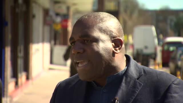 david lammy saying mayor of london sadiq khan has not visited his tottenham constituency after a spate of gangrelated murders - 刺傷事件点の映像素材/bロール
