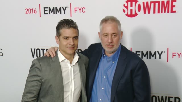 """david levien and brian koppelman at the for your consideration screening and panel for showtime's """"billions"""" - red carpet at the wga theater on april... - showtime video stock e b–roll"""