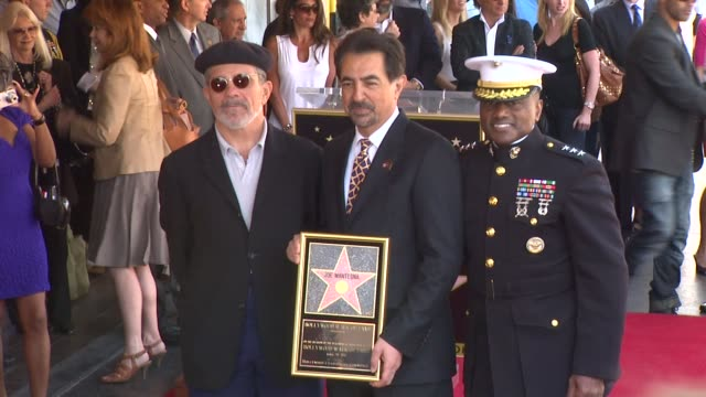 David Mamet Joe Mantegna and Marine Lt General Willie Williams at the Joe Mantegna Honored with a Star on the Hollywood Walk of Fame at Hollywood CA