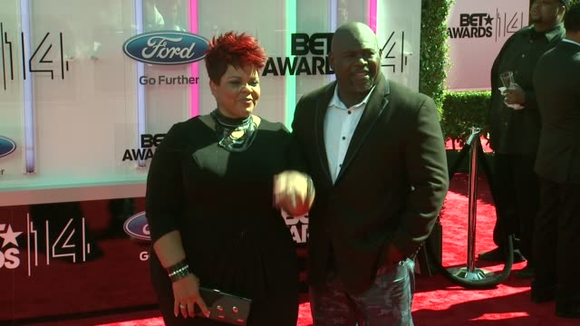 David Mann and Tamela Mann at the 2014 BET Awards on June 29 2014 in Los Angeles California
