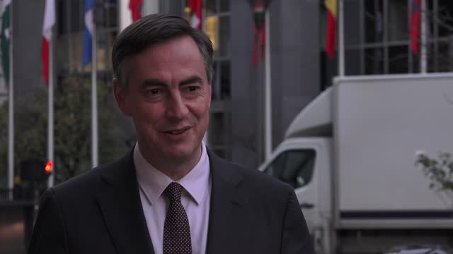 david mcallister speaking to the media outside the european parliament in brussels, belgium. david mcallister, of the parliament's uk co-ordination... - co ordination stock videos & royalty-free footage