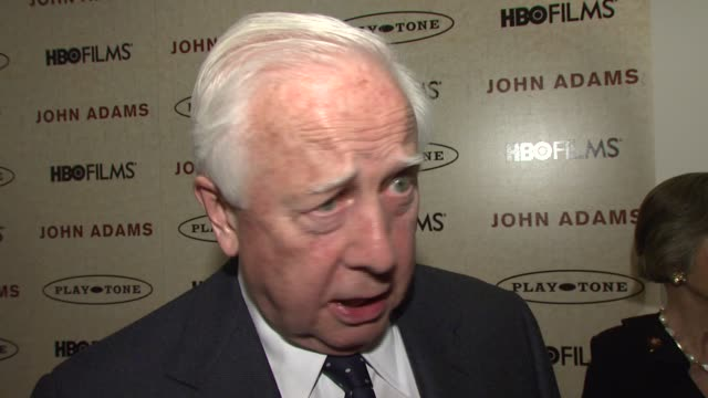 david mccullough on what happened to transition his book to the screen and how he thinks politics parallel through the ages at the 'john adams'... - parallelo video stock e b–roll