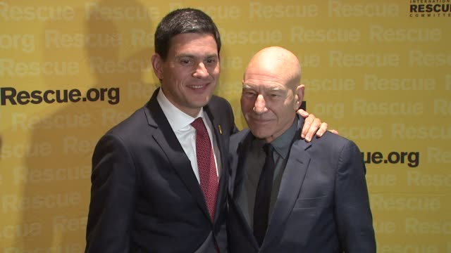 David Miliband and Patrick Stewart at 2015 International Rescue Committee Freedom Award Benefit at Waldorf Astoria Hotel on November 04 2015 in New...
