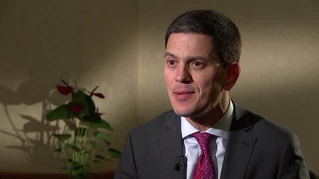 london int david miliband interview sot re syria refugee crisis hillary clinton and us election - david miliband stock videos & royalty-free footage
