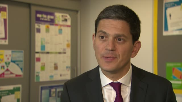 south shields int david miliband mp interview sot - south shields stock videos & royalty-free footage