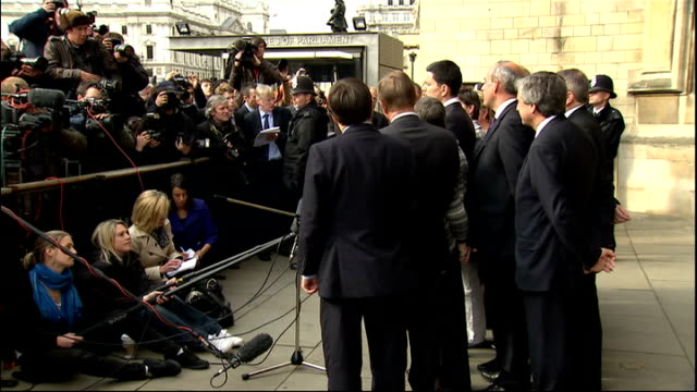 david miliband mp from houses of parliament to speak at press conference david miliband mp speaking to press with supporters behind sot i will be a... - humility stock videos and b-roll footage