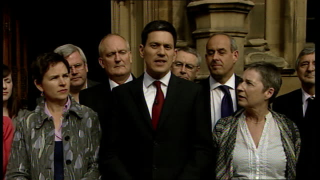 david miliband press conference to launch his labour leadership bid england london westminster ext david miliband mp press conference flanked by... - humility stock videos and b-roll footage
