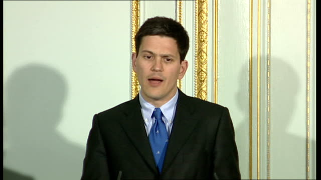 David Miliband press conference with Turkish Foreign minister Ali Babacan ENGLAND London Foreign Office PHOTOGRAPHY *** David Miliband MP SOT Thank...