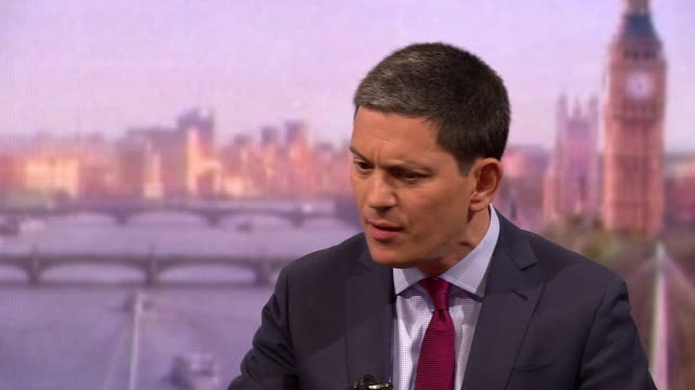 stockvideo's en b-roll-footage met david miliband saying we are living in a world where the international rules and norms are being flouted day by day - britse labor partij