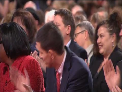 david miliband stands and applauds and hugs brother ed as ed is declared new leader of the labour party at annual party conference - brother stock videos & royalty-free footage