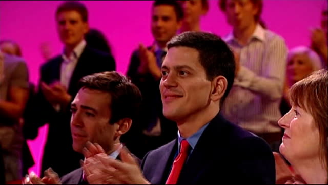 david miliband withdraws from the shadow cabinet lib david miliband applauding ed miliband's speech - david miliband stock videos & royalty-free footage