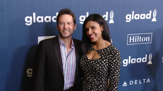 david millbern and olivia harewood at the 27th annual glaad media awards at the beverly hilton hotel on april 2, 2016 in beverly hills, california. - the beverly hilton hotel点の映像素材/bロール