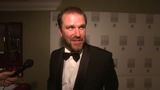David Morrissey on winning the award although his father died last week at the Laurence Olivier Awards 2009 at London