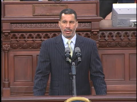 david paterson gives a speech after being sworn in as governor of new york. - united states and (politics or government) stock videos & royalty-free footage