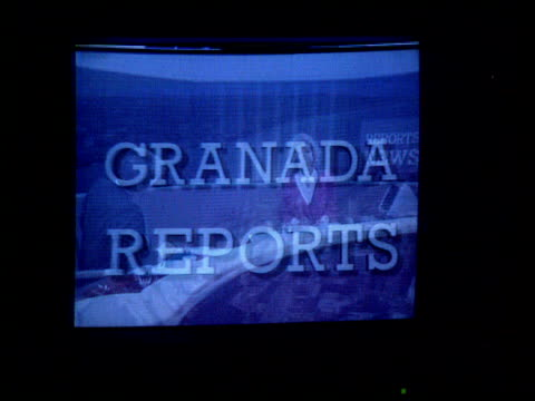 david plowright resigns from granada television; cr1874 / 7.12.89 manchester: gv granada tv buildings int cms tv monitor showing opening sequence of... - television show stock videos & royalty-free footage