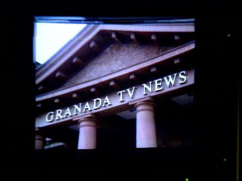 "david plowright resigns from granada television; david plowright resigns from granada television; cr1874 / 7.12.89 cms screen showing sign ""granada... - television show stock videos & royalty-free footage"