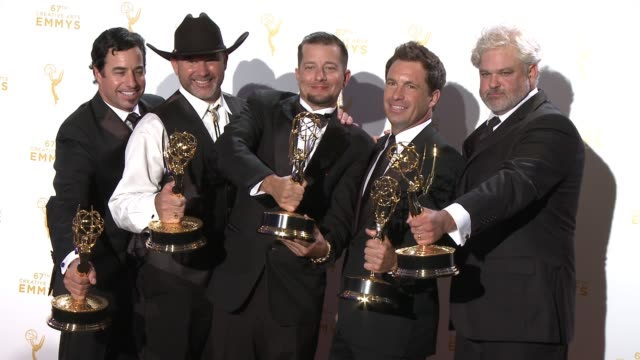 david reichart todd stanley steven wright breck warwick and matt fahey at the 2015 creative arts emmy awards at microsoft theater on september 12... - emmy awards stock-videos und b-roll-filmmaterial
