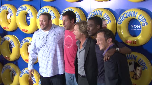 david spade, chris rock, adam sandler, kevin james and rob schneider at the special screening of 'grown ups' at new york ny. - adam sandler stock videos & royalty-free footage