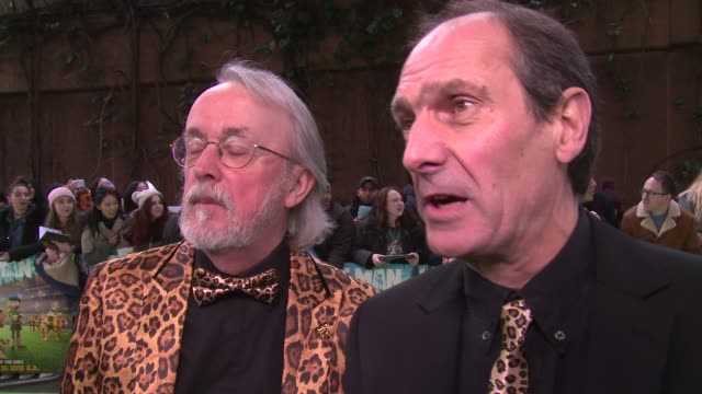 David Sproxton Peter Lord on creating the movie Aardman and tiger print clothing at BFI IMAX on January 14 2018 in London England