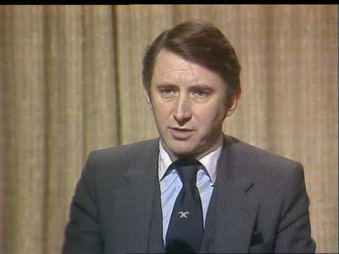 """david steel interview on defection of christopher brocklebank-fowler; england: london: int david steel sof: """"well i regard it -- take that chance.""""... - itv news at one stock videos & royalty-free footage"""