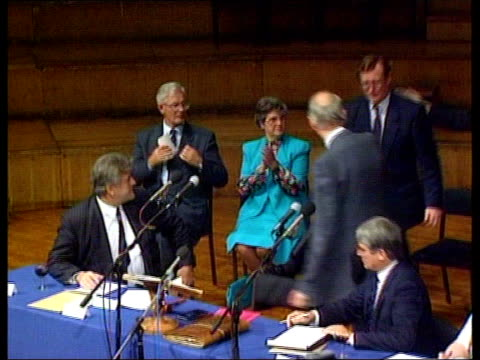 stockvideo's en b-roll-footage met david trimble mp shaking hands with other ulster unionist mps as his win in the leadership election is announced - david trimble