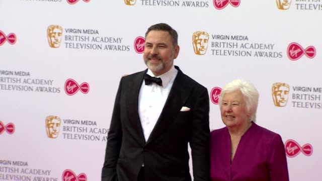 david walliams and his mother pose for photos on red carpet at bafta tv awards 2019 at royal festival hall london - two people stock videos & royalty-free footage