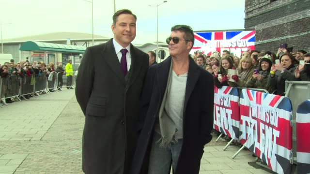 david walliams and simon cowell at britain's got talent cardiff auditions at millennium stadium on january 23 2014 in cardiff wales - britain's got talent stock-videos und b-roll-filmmaterial