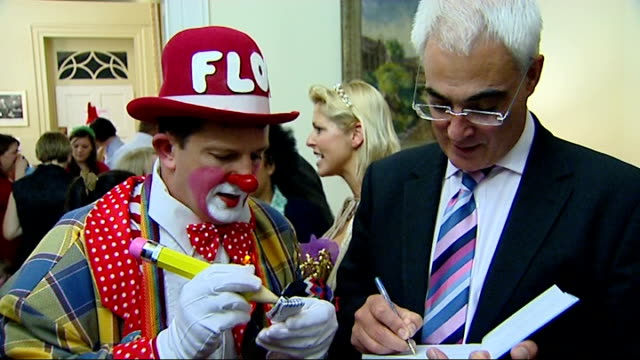 david walliams attends alistair darling charity party england london downing street int chancellor of the exchequer alistair darling mp with clown at... - chancellor of the exchequer stock videos and b-roll footage