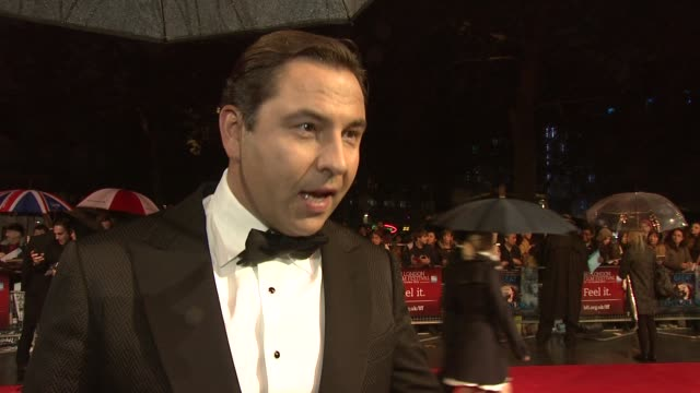 "david walliams on working with ralph fiennes, helena bonham carter, robbie coltrane, the social satire, simon cowell's movie preferences at ""great... - satire stock videos & royalty-free footage"
