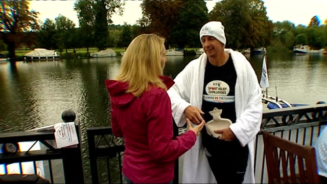 david walliams record breaking charity swim ext walliams swimming thames to applause sot david walliams interview sot feeling tired but determined to... - record breaking stock videos & royalty-free footage