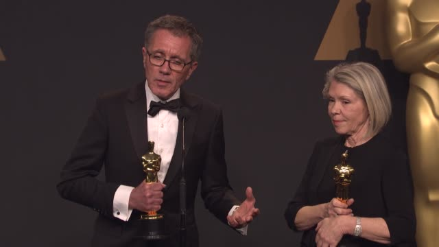 SPEECH David Wasco and Sandy ReynoldsWasco at the 89th Annual Academy Awards Press Room at Hollywood Highland Center on February 26 2017 in Hollywood...