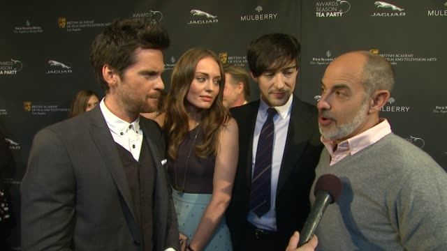 interview davinci's demons cast on being a part of the afternoon at bafta la 2014 awards season tea party at four seasons hotel los angeles at... - bafta la tea party stock videos and b-roll footage