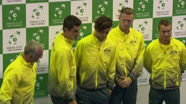 Australia and Great Britain photocall Doubles opponents handshake including Jamie Murray and Lleyton Hewitt / Australia team posing / Team Great...