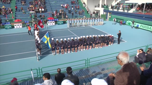 davis cup europe africa zone round 1 group 2 match between malek jaziri of tunisia and isak arvidsson of sweden at el menzah in tunis, tunisia on... - davis cup stock videos & royalty-free footage