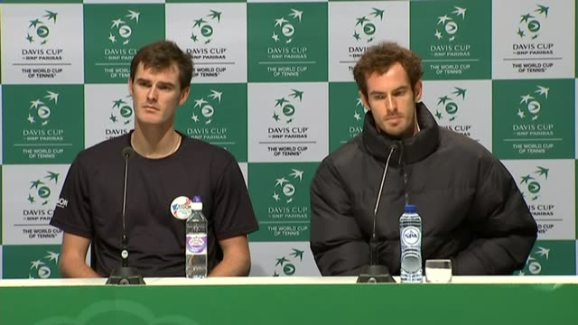 day two andy murray press conference sot alongside jamie murray - 2日目点の映像素材/bロール