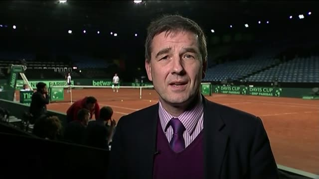 v belgium: match tied at end of day one; reporter to camera/ andy murray press conference sot/ ext / night gb fans leaving stadium - davis cup stock videos & royalty-free footage